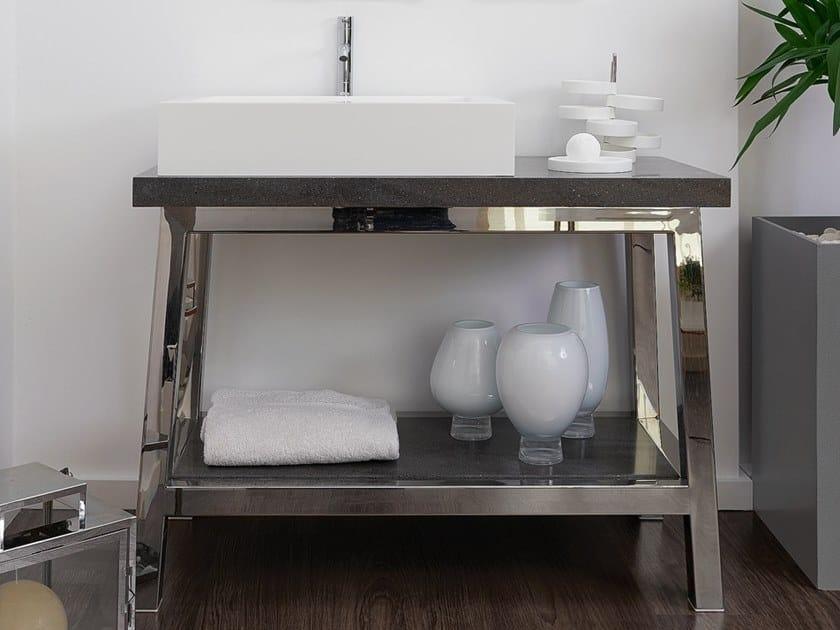 Floor-standing single stainless steel vanity unit EASEL | Stainless steel vanity unit by AMA Design