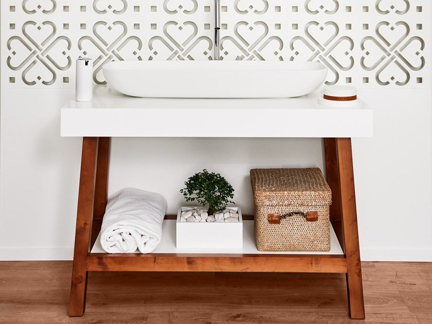 Floorstanding single wooden bathroom cabinet EASEL | Wooden bathroom cabinet by AMA Design