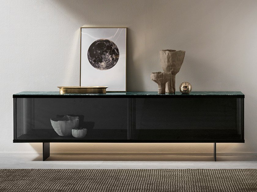 Glass sideboard with sliding doors with integrated lighting EAST SIDE | Sideboard by Tonelli Design