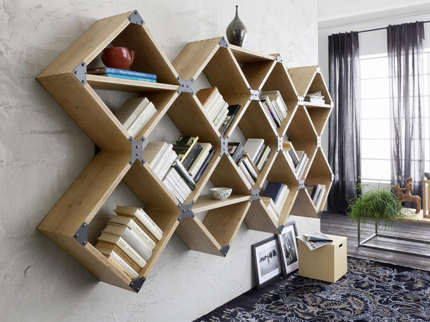Sectional floating wooden bookcase EASY | Bookcase by AltaCorte