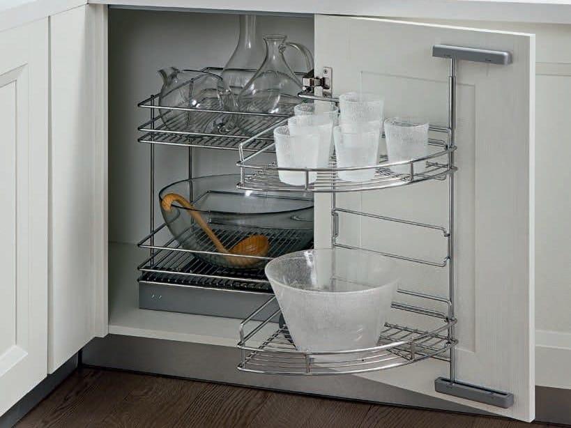 Cestello Girevole Per Mobile Base Ad Angolo.Accessorio Interno Per La Cucina In Acciaio Easy Corner By Wurth