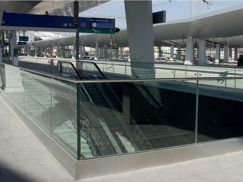 Glass and steel balustrade EASY GLASS® PROTECT by Q-RAILING ITALIA