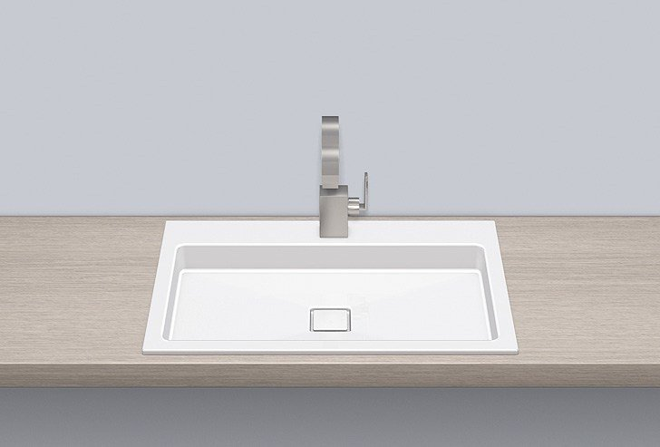 Built-in basin from glazed steel EB.RE700H.2 by Alape