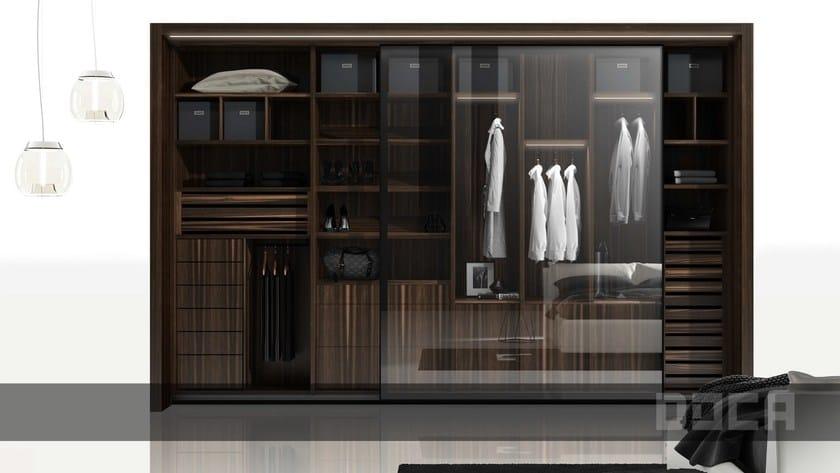 Wood and glass wardrobe with sliding doors EBANO VINTAGE/LEACH ...