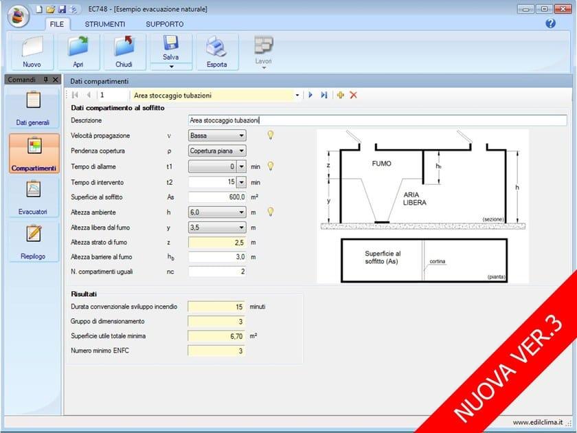 Smoke and heat evacuator calculation EC748 Evacuatori di fumo e calore by EDILCLIMA