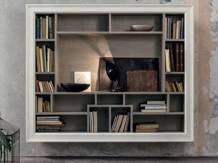 Open floating solid wood TV wall system ECLETTICA | Floating bookcase by Devina Nais