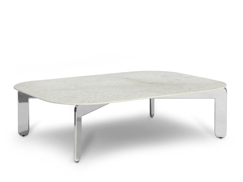 Low rectangular marble coffee table ECCO CAPPUCCINO 90X120 by AKDO