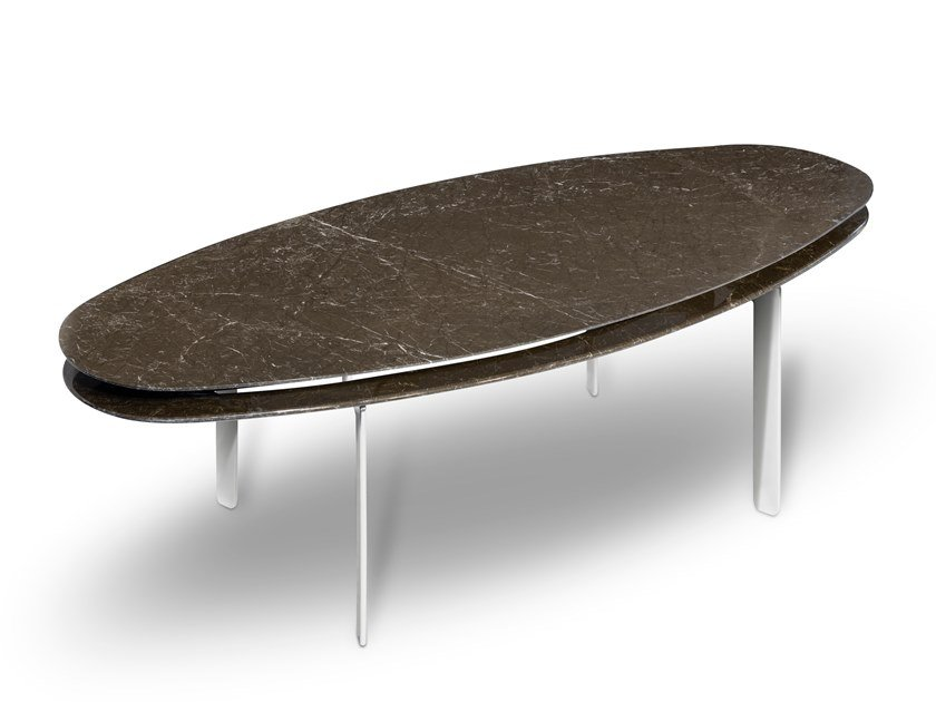 Oval Dark Olive Marble Dining Table