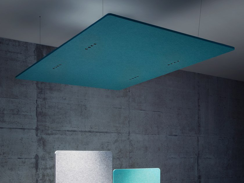 Hanging acoustic panel with Integrated Lighting ECHOLED® EQ4 by ECHOJAZZ