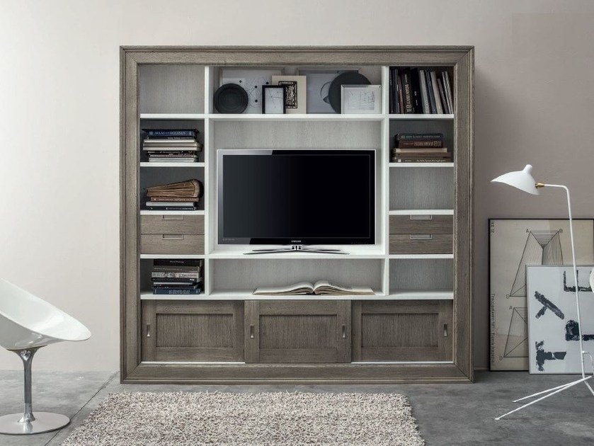 Wall-mounted freestanding solid wood bookcase with TV stand ECLETTICA | Wall-mounted bookcase by Devina Nais