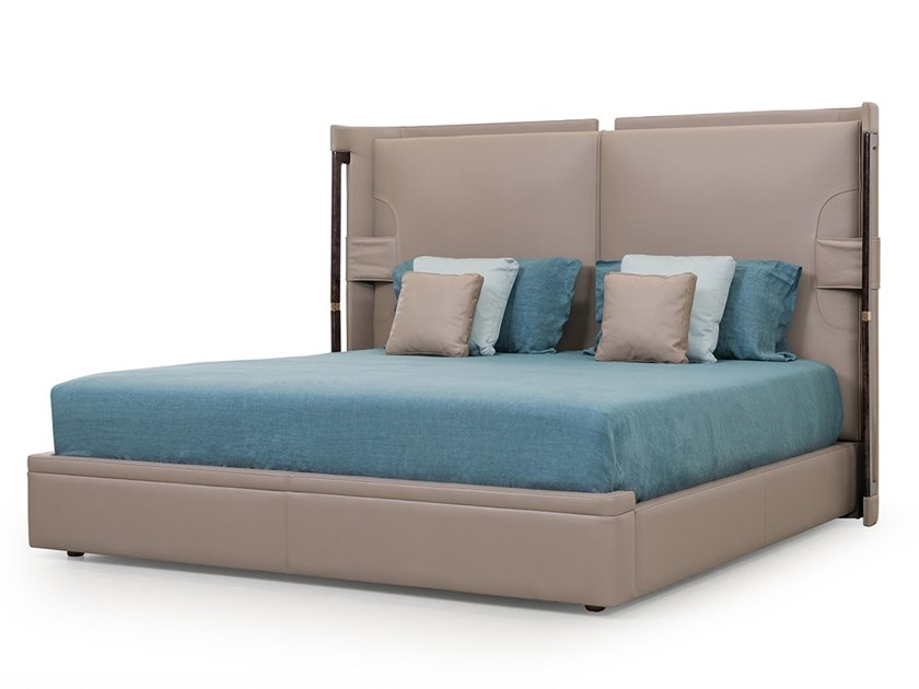Leather double bed with upholstered headboard ECLIPSE | Bed by Turri