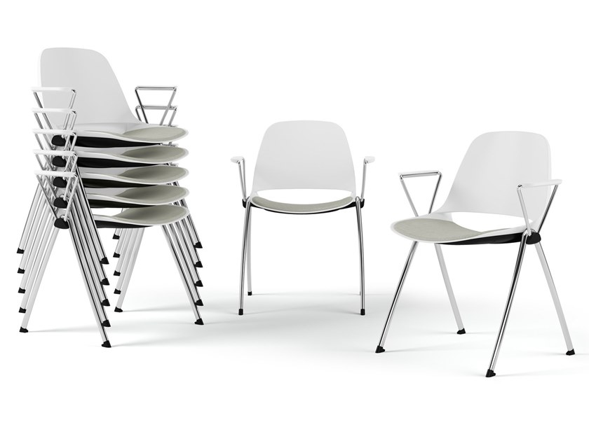 Stackable chair with armrests ECLIPSE | Chair with armrests by Diemmebi