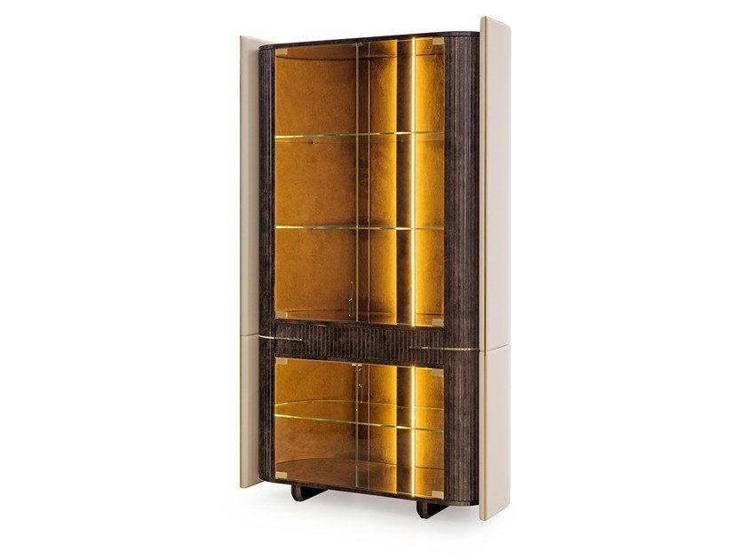 Wooden display cabinet with integrated lighting ECLIPSE | Display cabinet by Turri