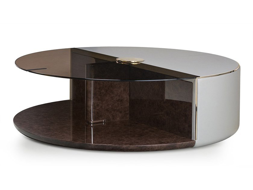 Round glass coffee table with integrated magazine rack ECLIPSE | Coffee table by Turri