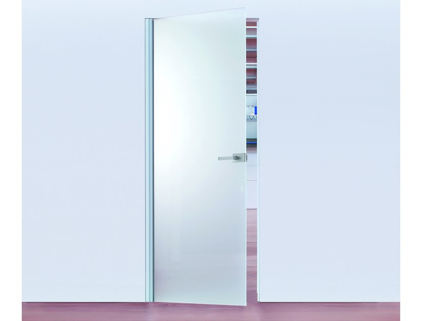 Hinged flush-fitting glass door with concealed hinges ECLISSE Syntesis® Battente Glass by Eclisse