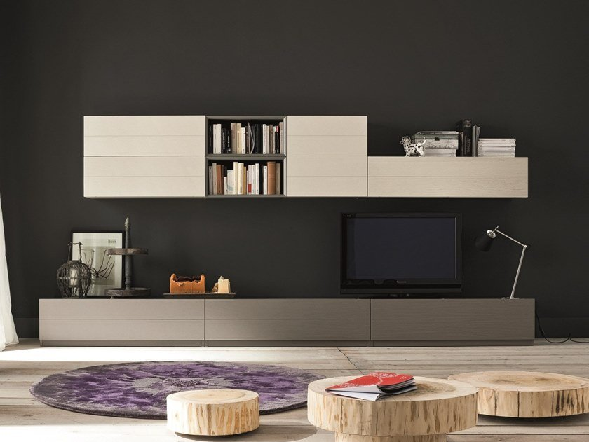 Horizontal oak wall cabinet ECO COMPONIBILE | Wall cabinet by AltaCorte