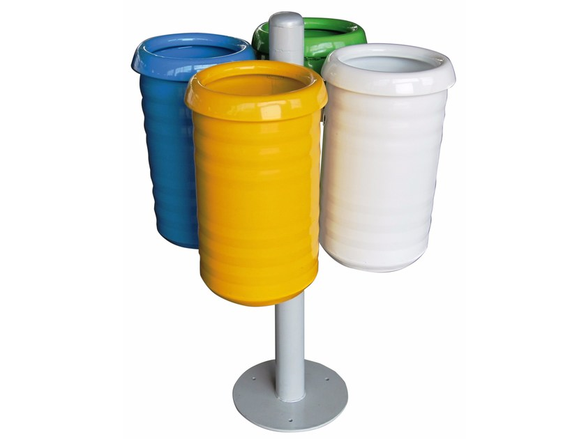 Steel litter bin for waste sorting ECO ISOLA WITH 4 BINS by A.U.ESSE