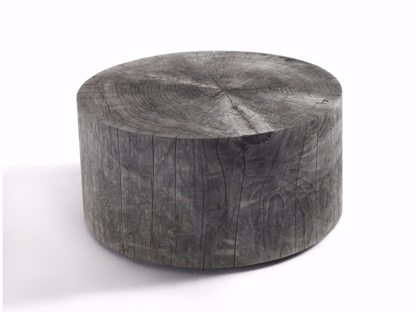 Round cedarwood garden side table ECO OUTDOOR by Riva 1920