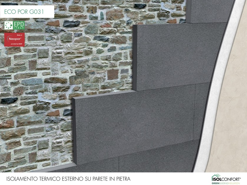 ECO POR G031 Isolconfort Eco Por G031 - Isolamento termico a cappotto in Neopor® su muro in pietra