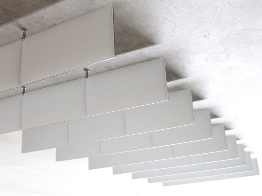 Fireproof polyester fibre acoustic baffles ECODESK FLAG by Slalom