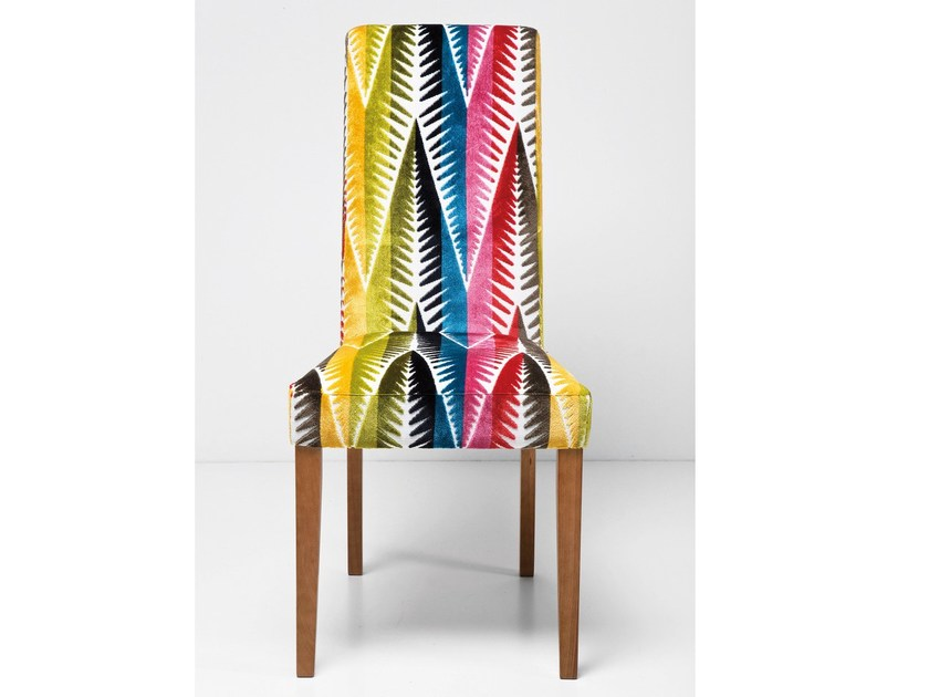 Upholstered high-back fabric chair ECONO SLIM PALM LEAF by KARE-DESIGN