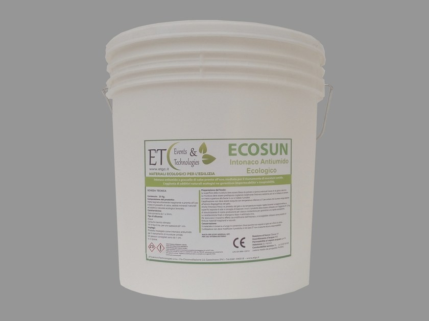 Dehumidifying plaster with lime putty ECOSUN by ET Events & Technologies