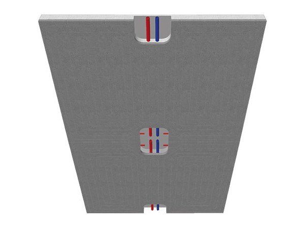 Ceiling or wall radiant system with plasterboard panels ECOWALL DRY by Rossato Group