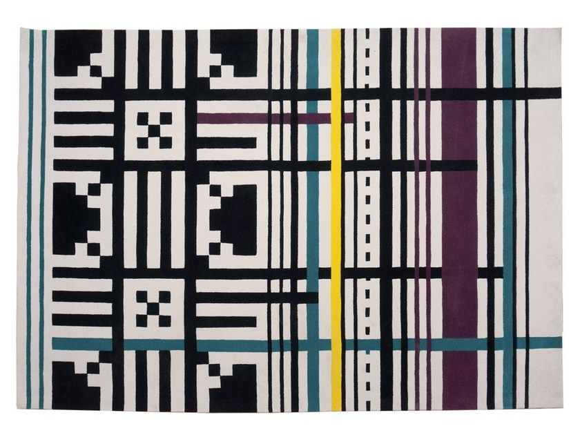 Handmade rectangular wool rug with geometric shapes ECSTATIC by Dare to Rug