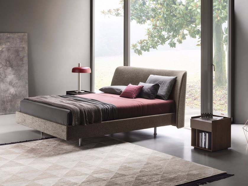 Fabric double bed with upholstered headboard EDEL by Lema