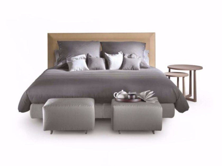 Double bed with leather upholstered headboard EDEN | Bed by FLEXFORM