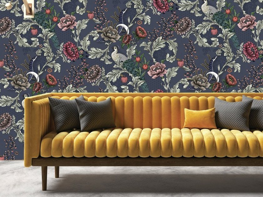 Non-woven paper wallpaper with floral pattern EDEN by Isidore Leroy