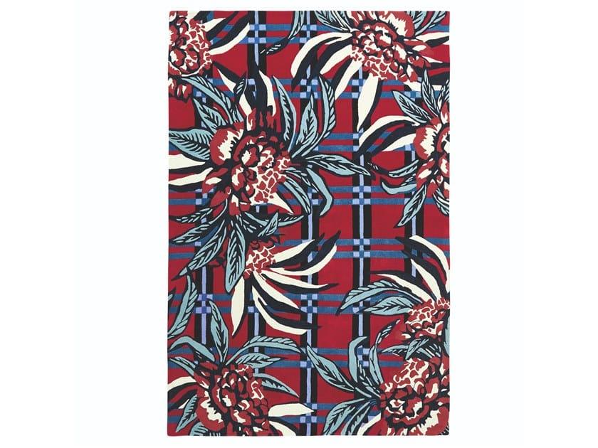 Rectangular wool rug with floral pattern EDEN by Toulemonde Bochart