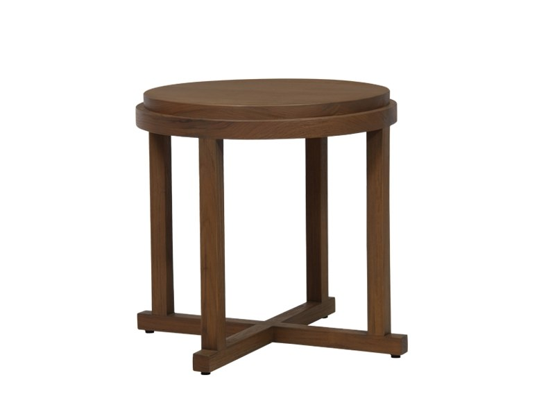 Solid wood side table EDG-E | Round coffee table by WARISAN