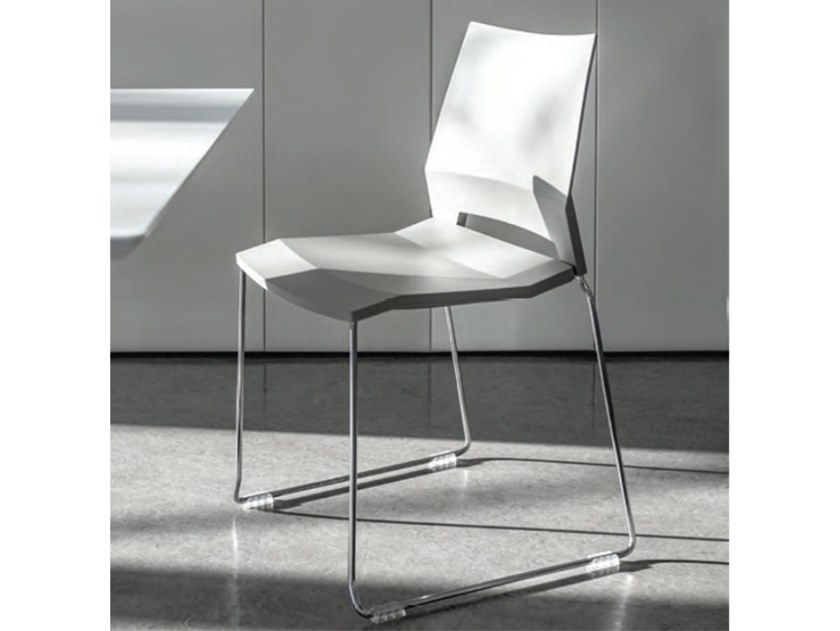 Sled base stackable chair with armrests EDGE by FANTONI