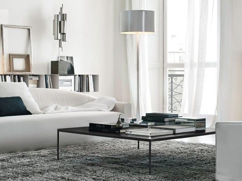 Low rectangular wood veneer coffee table for living room EDGE | Wood veneer coffee table by poliform