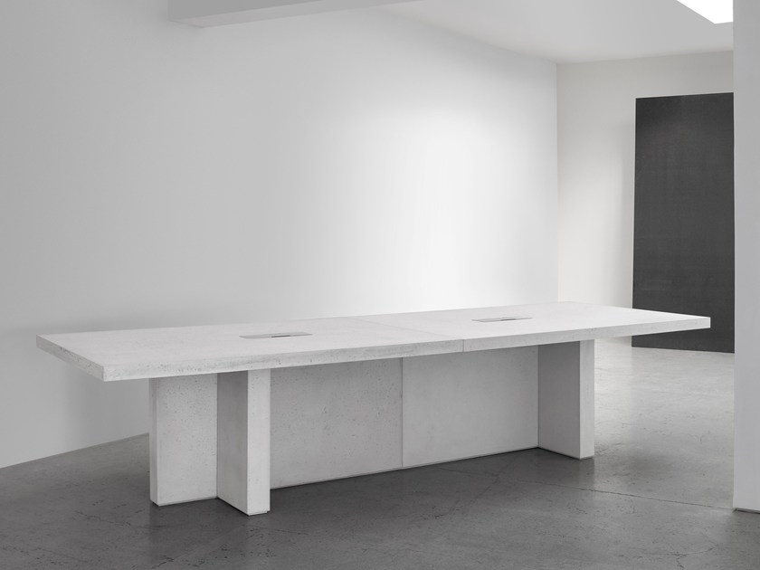 Concrete meeting table with cable management EDITION by Isomi