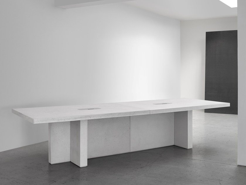 Lightweight concrete meeting table with cable management EDITION by Isomi