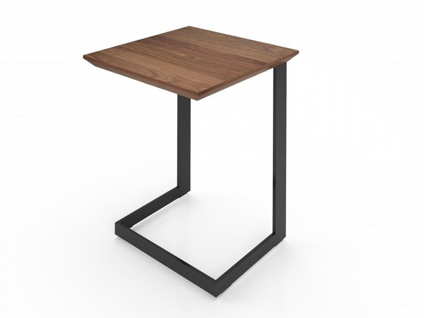 Rectangular walnut and steel coffee table EDWARD | Wooden coffee table by Huppé