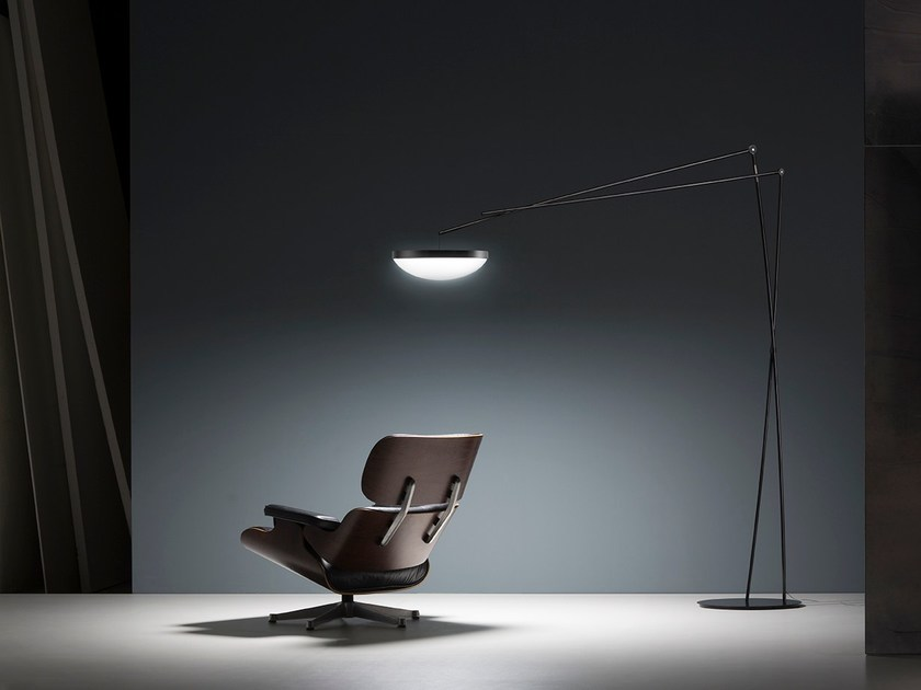 Contemporary style LED arc lamp with dimmer EFFIMERA by Prandina