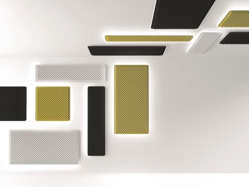 Fabric decorative acoustical panel with Integrated Lighting EGGBOARD WALL/ CEILING by Artemide
