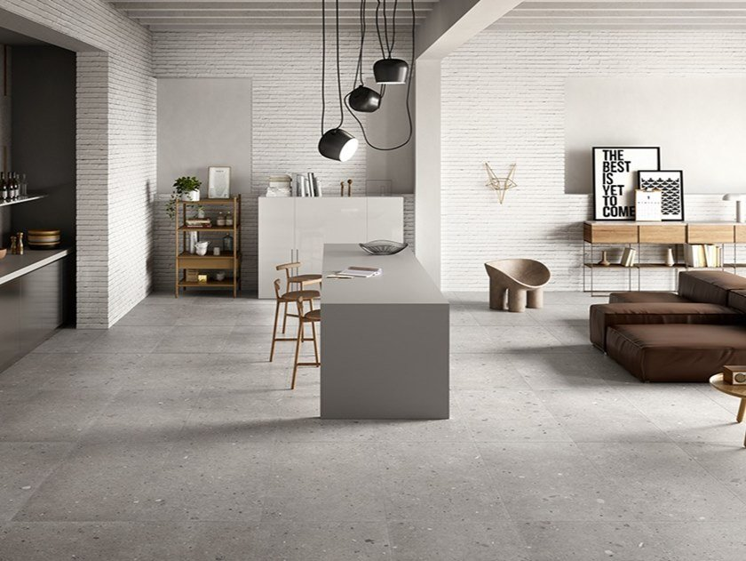 Porcelain stoneware wall/floor tiles with stone effect EGO GRIGIO by Provenza by Emilgroup