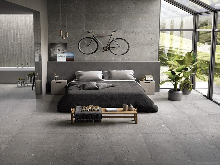 Porcelain stoneware wall/floor tiles with stone effect EGO GRIGIO SCURO by Provenza by Emilgroup