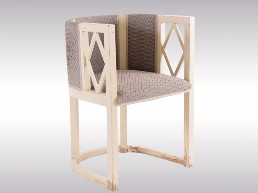 Upholstered wooden easy chair with armrests EINZELSTUHL by Woka Lamps Vienna
