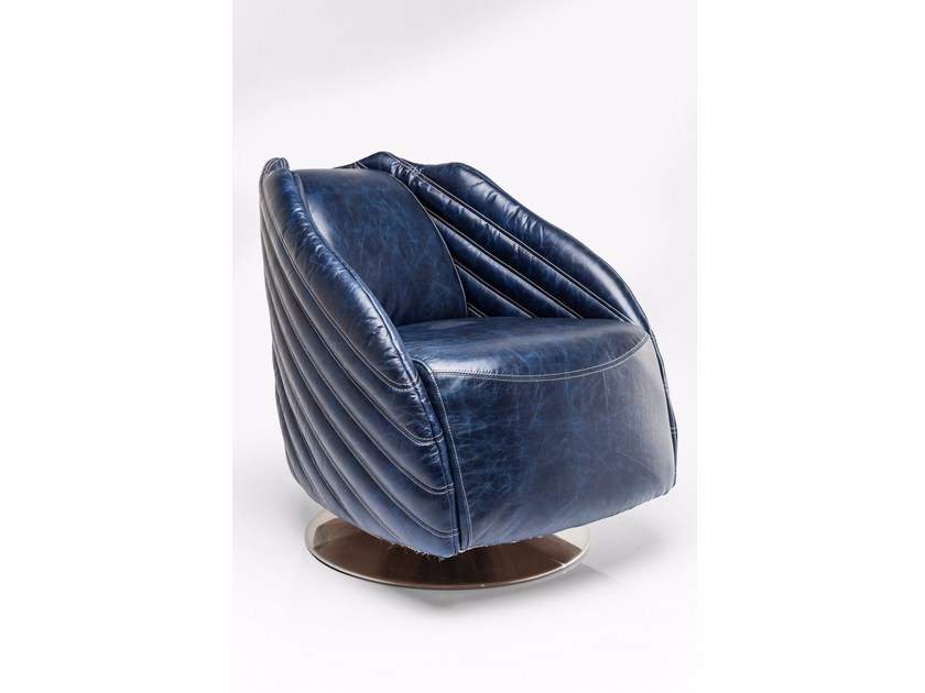 Swivel leather armchair EL CAPITAN BLUE by KARE-DESIGN
