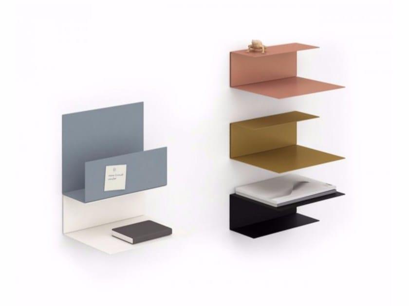 Powder coated steel magazine rack / wall shelf EL WALL by KONSTANTIN SLAWINSKI