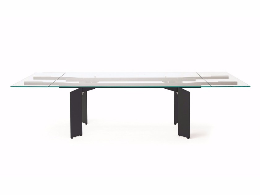 Extending rectangular crystal table ELAN DRIVE by Cattelan Italia