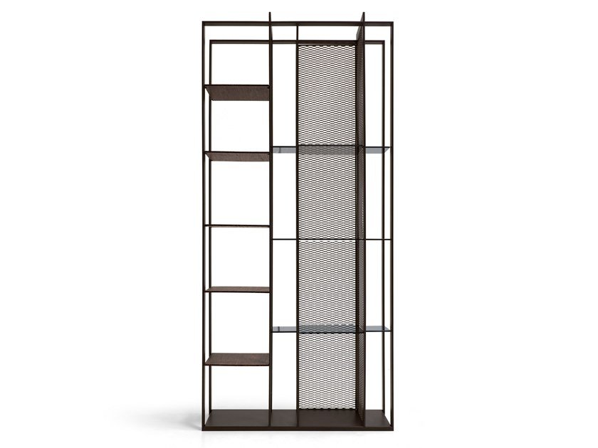 Double-sided wooden and metal bookcase ELECTRA by Arketipo