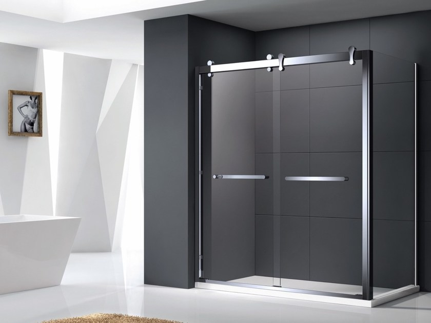 Rectangular tempered glass shower cabin with sliding door ELEGANCE by Swiss Concepts