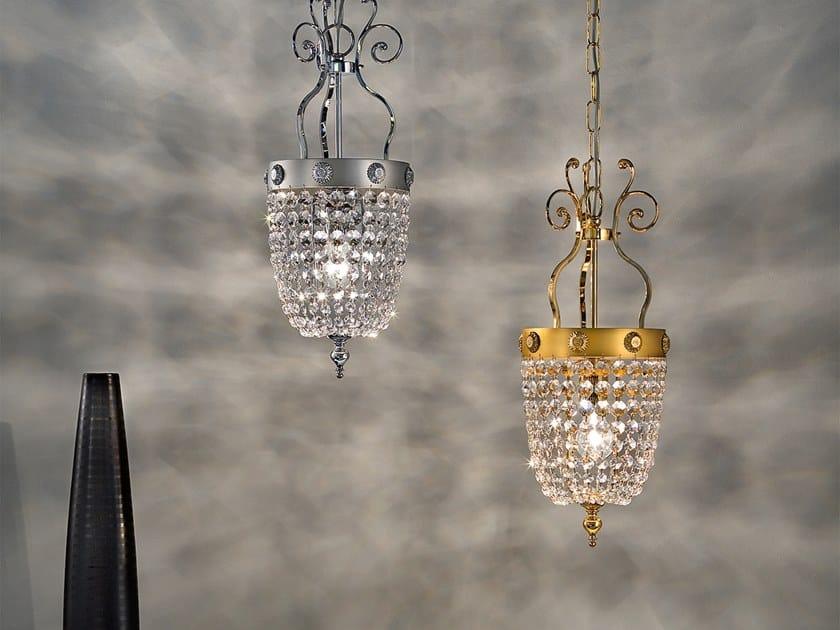 Lampada a sospensione a luce diretta in metallo con cristalli ELEGANTIA 1 by Masiero