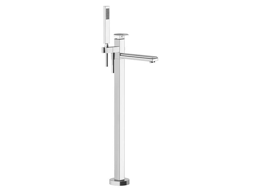 Floor standing metal bathtub mixer with hand shower ELEGANZA BATH   Floor standing bathtub mixer by Gessi